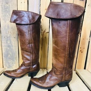 Charlie 1 Horse-Lucchese tall calf boots w/collar
